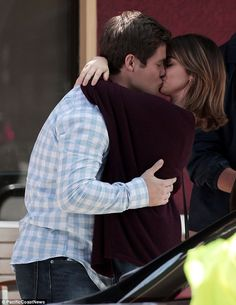 Going strong: The onscreen couple shared a kiss on the set as Haley and Andy's romance continues to blossom