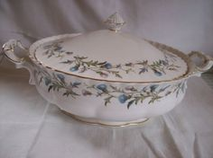 """Royal Albert Brigadoon Covered Casserole Server, 11-3/4"""" x 9½"""". no height given. C $93.74 (approx $69.23 US) at transformedtreasures on ebay, 2/28/16"""