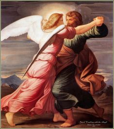 The account of Jacob wrestling with the angel is a story found in the Book of Genesis, and referenced elsewhere such as Genesis 35:1-7 and Hosea chapter 12. Description from rosamondpress.com. I searched for this on bing.com/images