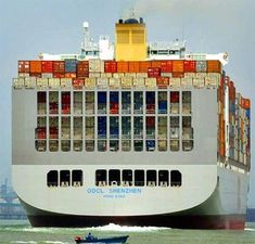 Largest Container Ship | cargo ship length 455 meter capacity 9200 containers attached images