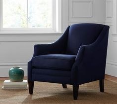 Hattie Upholstered Armchair | Pottery Barn- maybe in Brushed Canvas Harbor Blue or one of the darker greys