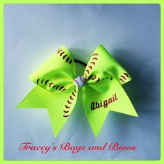 Softball Bow with name fluorescent yellow by Traceysbagsandbows $12