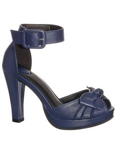 Pin-Up Girl Navy Blue Bow Pumps $54.00 AT vintagedancer.com