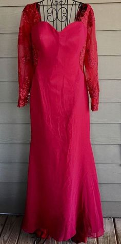 Vintage Burgundy Red Lace Gown Dress Bra Long Sleeve Size Small #Unbranded #RetroModGown