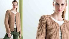 Le gilet court au point mousse : Femme Actuelle Le MAG Knitting Yarn, Knit Crochet, Men Sweater, Pullover, Sweaters, Actus, Assemblage, Ruler, Triangle
