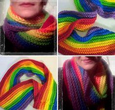 Rainbow Infinity Scarf  handmade colorful winter by BoxElderBrand