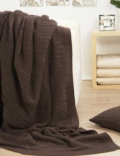 cable knit throw blanket for room decorating with brown color