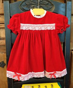 196b7b449916 18 month Vintage Red Velvet Dress with white lace and red ribbon trim by