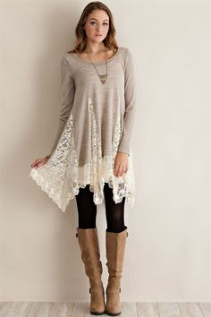 Whimsical Night Sweater Tunic-Sand – Sweet N Sassy Us This color doesn't look great on me, but I love the lace!