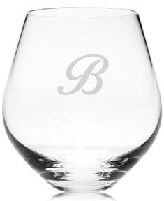Lenox Tuscany Monogram Stemware, Set of 4 Script Letter Stemless Red Wine Glasses - M