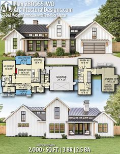 Architectural Designs Farmhouse Plan gives you 3 bedrooms, baths and sq. Ready when you are! Where do YOU want to build? Architectural Designs Farmhouse Plan gives you 3 bedrooms, baths and sq. Ready when you are! Where do YOU want to build? House Plans One Story, New House Plans, Dream House Plans, Modern House Plans, Barn Style House Plans, Modern Floor Plans, 4 Bedroom House Plans, The Plan, How To Plan