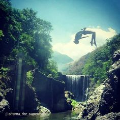 """""""My backflip over the water falls at serge. Yew!!!! """" via @shama_the_superman - Reggae Falls in St. Thomas"""
