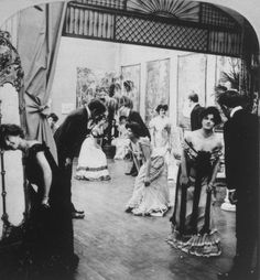 """1902 ~ Isn't this a fun photo?  Kind of an """"up-close & personal,"""" """"unposed"""" view of some Ballroom Dancers in the Gilded Age. Almost as if we were standing right there with them."""