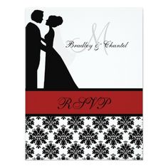 Damask Wedding Reception Card Black and Red Wedding Couple RSVP Card