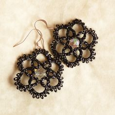 Tatted black lace earrings with silver glitter. $24.99, via Etsy.
