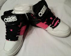 NWB 6 M Osiris NYC Glam Black Pink White High Top Athletic Skate Shoes Lace  Ups  Osiris  Skateboarding 1a215584ed1