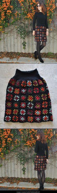 granny square crochet skirt -