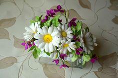 """Купить Ободок """"Ромашковое поле"""" - комбинированный, ободок для волос, ободок с цветами, ободок ручной работы"""