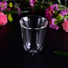 10oz thick double wall heat resistant glass coffee cup