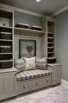 Much smaller, but oh so chic and stylish, this elegant little space includes lots of storage and a beautiful and convenient built-in seat.