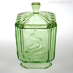 Antiques Atlas - Sowerby Uranium Green Glass Lidded Jar