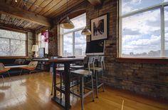Noble Court Lofts - Unit #413   Toronto LOFTS Toronto Lofts, Centre Island, Hardwood Floors, Flooring, Exposed Brick Walls, Open Concept Kitchen, Wood Ceilings, Beams, The Unit