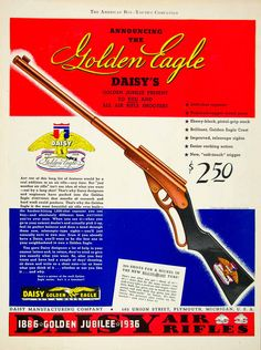 1936 Ad Daisy Air Rifle Toy Golden Eagle 1886 Jubilee 105 Union St Plymouth MI