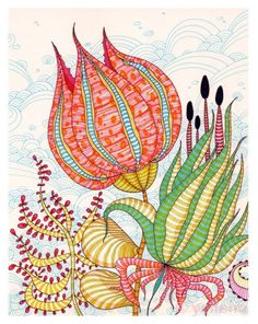 "Zentangle & Doodling Зентангл и Дудлинг ""Petals"" - ink abstract by Yellena James Art And Illustration, Zen Doodle, Doodle Art, Art Floral, Yellena James, Tangle Art, Flower Doodles, Art Journal Pages, Flower Art"