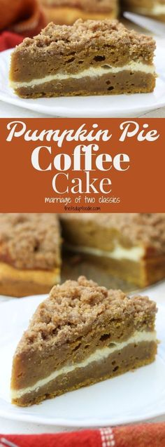 Moist and rich with the best buttery crumble topping this Pumpkin Pie Coffee Cake recipe is a cross between two classic desserts. Add in the cream cheese layer and this becomes a favorite fall dessert! Brownie Desserts, Mini Desserts, Fall Desserts, Just Desserts, Delicious Desserts, Dessert Recipes, Yummy Food, Dinner Recipes, Pumpkin Pie Coffee Cake Recipe