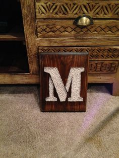 Monogrammed Initial String Art Custom Letter M by DownSouthInTexas Art Crafts, Diy And Crafts, Arts And Crafts, Fair Projects, Craft Projects, String Art Letters, Arte Linear, Art Patterns, Craft Night