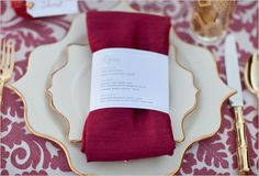 scalloped plates + cute menu belly bands