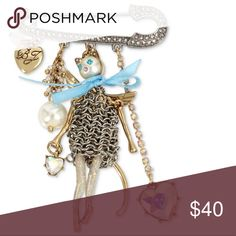 """Betsey Johnson cat pin Betsey Johnson cat pin Material: Gold Tone mixed metal  Approximate Length: 3"""" Brand new with tags -Authentic  Retails for $52+ TAX —————————————————— ❌NO TRADING  🥇POSH AMBASSADOR  📦FAST SHIPPER 🔝 RATED SELLER  🔝10% SELLER🏆 🛍 BOUTIQUE CERTIFIED  💌TAKE A LOOK AT MY FEEDBACK Betsey Johnson Jewelry Brooches"""