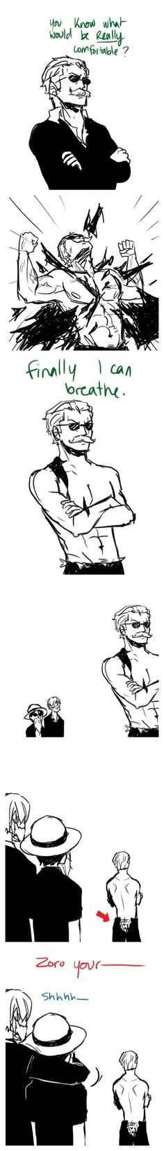 "Little cute ass, Zoro :3 and love how Sanji's just like ""shhh let him spoil his image"""
