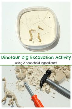 Preschool science activity. Learning about dinosaurs and going on a dino dig.
