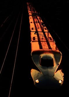 Shinkansen at sunset