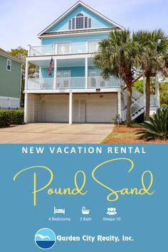 Pound Sand is a four-bedroom, three-bath house located 11.1 miles south of Garden City Beach in Pawleys Island. #Vacation #VacationRental #PawleysIsland #MyrtleBeach #Travel #WishYouWereHere Litchfield Beach, Garden City Beach, Pawleys Island, Small Buildings, Low Country, Vacation Rentals, Second Floor, State Parks, Bath