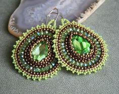 groen, gouden bruin, koper, zaad parel oorbellen toho, geweven juwelen, hoop Earrings hoop earrings, kralen, Bangle sieraden, kralen oorbellen van ebben hout OOAK