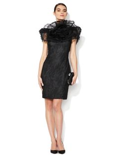 Marchesa Couture Lace Ruffle Neck Shift Dress