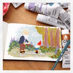 A gnome in the garden paint sketch