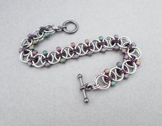 Purple Beaded Bracelet Chainmaille Jewelry by BlackCatLinks