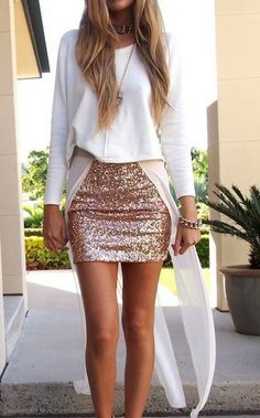 sequin skirt , so cute in this combination with a simple sweater