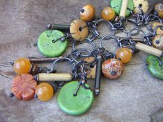 Earthtone Copper Mix Charm Bracelet by annamei on Etsy,