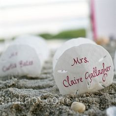 Sand Dollar Escort Cards   Guests' names were calligraphed on the front of sand dollars, while numbers were noted on the backs. They were displayed in a box of sand and shells.