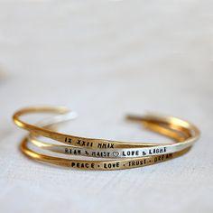 Cuff bracelet personalized sterling silver and brass bracelets set of 3 rustic cuffs Bracelet Set, Cuff Bracelets, Bangles, Rustic Cuff, Brass Cuff, Personalized Bracelets, Turquoise Jewelry, Belt Buckles, Hand Stamped