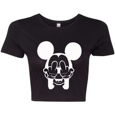 Mickey Mouse shirt Funny Mickey crop top t shirt crop top shirt tank t... ($19) ❤ liked on Polyvore featuring tops, t-shirts, crop tops, shirts, haut, black tee, t shirts, mickey mouse t shirt, crop top and mickey mouse shirt