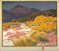 Gustave Baumann, Arroya Chamisa Color woodcut - (reminds me of namaqualand - south africa) Inspiration Art, Art Inspo, Tag Art, Landscape Art, Landscape Paintings, Linocut Prints, Art Prints, Block Prints, Illustration Art