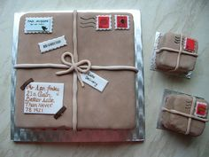 It would need some different sayings on it.maybe we could find an envelope that he sent Granny while he was in WWII? Christmas Bake Off, Christmas Baking, Dad Cake, Cake Boss, Post Box Cake, 90th Birthday Cakes, Travel Cake, Big Cakes, Cake Decorating