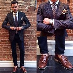 My favorite look this past week. This piece has been selling like crazy. suit chopped up and worn with denim. Tweed Men, Daily Fashion, Mens Fashion, School Looks, Like Crazy, 3 Piece Suits, Suit And Tie, Mens Suits, Old School