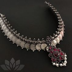 3 Brands To Shop Traditional Silver Coin Necklace Designs Mens Silver Necklace, Antique Necklace, Antique Jewelry, Silver Earrings, Silver Jewellery Indian, Temple Jewellery, Silver Jewelry, Saree Jewellery, Diy Jewellery