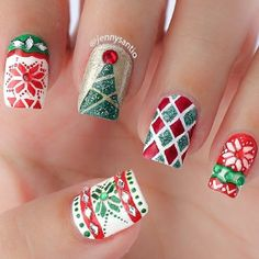 Newest Christmas Nail Ideas for Christmas Sweater Nail Art Designs Ideas; easy and cute Christmas nails; Christmas Manicure, Holiday Nail Art, Xmas Nails, Christmas Nail Art Designs, Winter Nail Art, Christmas Patterns, Winter Nails, Christmas Design, 3d Nails